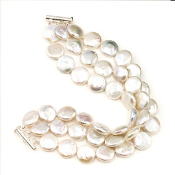 Triple row coin pearl bracelet lovely wedding anniversary gift