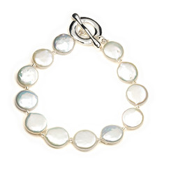 Coin shaped freshwater pearl bracelet lovely as Mother of the Bride Jewellery