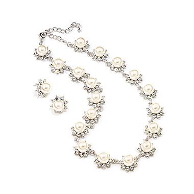 Sarita pearl and diamante bridal necklace set