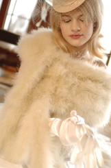 champagne coloured marabou real feather wrap