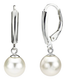 White freshwater pearl drop earrings, classic design, beautiful gift or wedding jewellery.