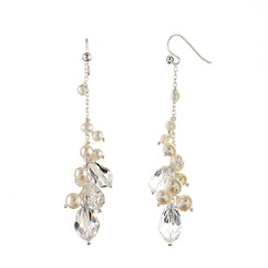 Monica Pearl and Crystal drop bridal earrings