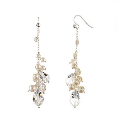 Monica Pearl and Crystal drop bridal earrings