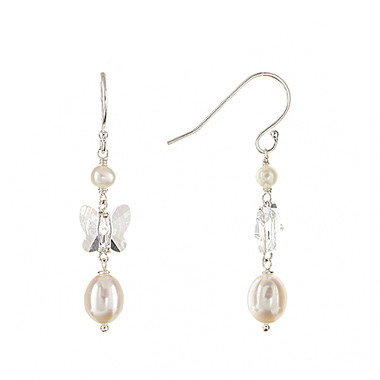 Luisa butterfly crystal and pearl drop bridal earrings