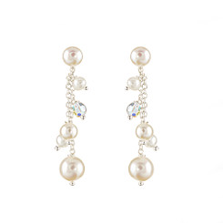 Louise pearl and crystal drop bridesmaid earrings