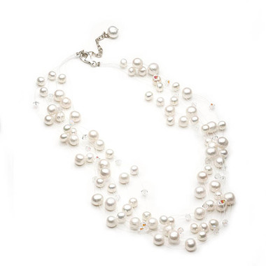 Floating pearl and crystal bridal necklace, gorgeous illusion style