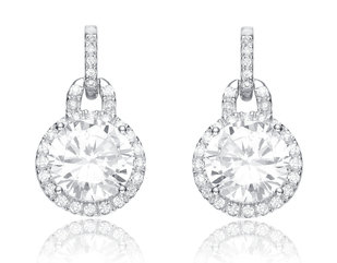 Cubic zirconia round drop bridal earrings