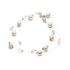 Lucy floating pearl and crystal bridal bracelet