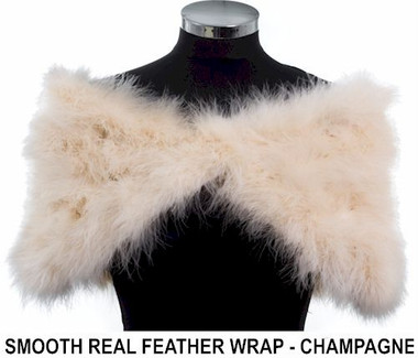 Angelica champagne coloured marabou feather wrap