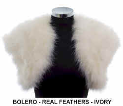 Eloisa ivory real feather bolero