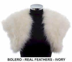 Eloisa ivory real feather bolero