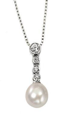 Rosella freshwater pearl and diamante bridal pendant