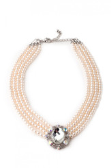 Vintage style diamante and faux pearl choker