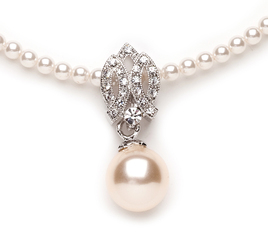 Vintage styled cream pearl pendant lovely for bridal jewellery