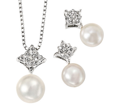 Abella pearl bridal pendant set ideal for bridesmaids jewellery