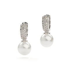 Elaina classic pearl and diamante earrings