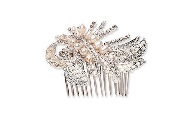 Ornate styled pearl and crystal bridal hair comb