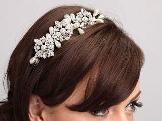 Stephanie side styled wedding head band with pearls and crystals
