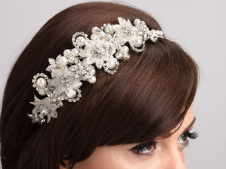 Kelly pearl side styled wedding headband