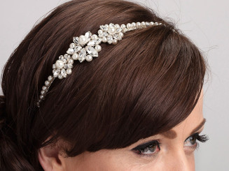 Lara Jane pearl and crystal side styled deco wedding hairband