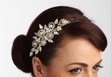 Gorgeous Sara side styled pearl bridal headband