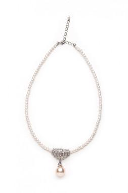 Rosabella diamante and pearl bridal pendant