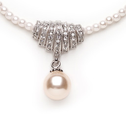 Rosabella diamante and cream pearl bridal pendant
