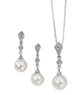 Perla Vintage Styled Diamond and Pearl Pendant set just for bridal