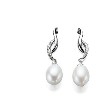 Mae Diamante and Freshwater Pearl Drop Bridal Earrings
