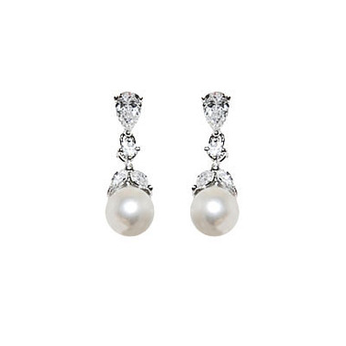 Pearl and CZ wedding earrings £32.95