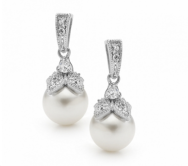 Vintage Inspired pearl wedding earrings
