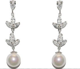 RIona vintage styled diamante and pearl wedding earrings