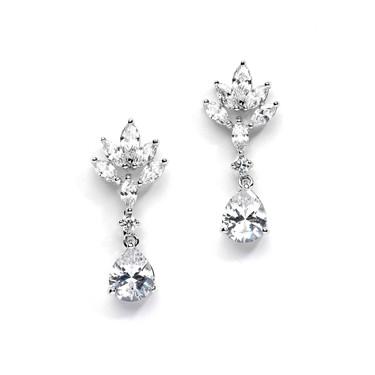 Alexi marquis shaped cubic zirconia wedding earrings