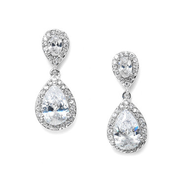 Freya pear shaped drop diamante bridal earrings