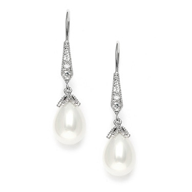 Penny vintage style diamante and pearl bridal earrings by Girls Love Pearls