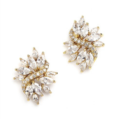 Sassi gold cluster bridal earrings with marquis diamantes