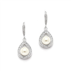 Gorgeous Sophia pear shaped pearl drop wedding earrings