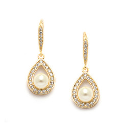 Gorgeous gold coloured pearl and cz wedding earrings
