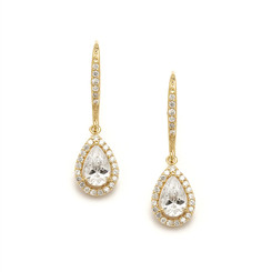 Sophia gold coloured diamante drop earrings with beautiful pear cubic zirconia