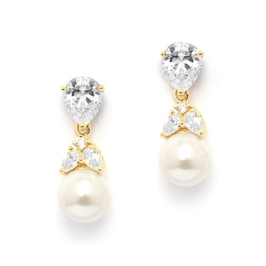 Christina pearl cut diamante and pearl drop earrings in a golden finish, beautiful for brides