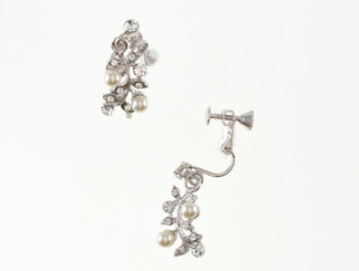Fern clip on drop pearl bridal earrings