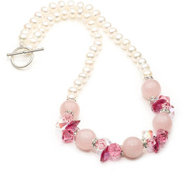 Rose Quartz and Pearl Gemstone Necklace
