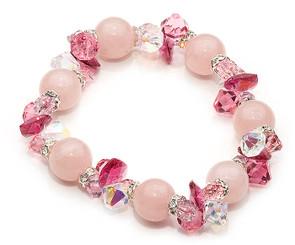 Rose Quartz and crystal gemstone bracelet