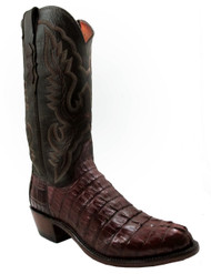 Men's Lucchese 1883  N1106 Hornback Caiman Tail Carver Stitch Cigar Brown