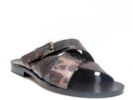 Men's Italian Leather Sandals By Gnv Italy 91209 Brown Snake
