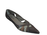 Sasha Too Inti Women's Leather Low Heel Pump Two Tone, Black, Brown