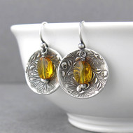Contrast Earrings Citrine