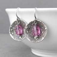 Contrast Earrings Pink Tourmaline