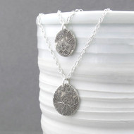 Oval Double Strand Necklace - Sterling Silver Enchanted Garden