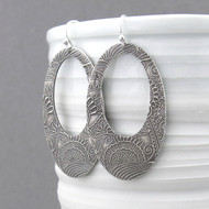 Boho Hoop Earrings - Fine and Sterling Silver - Statement Jewelry